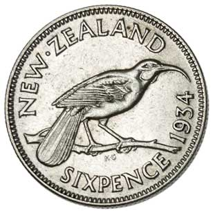 New Zealand 6-PENCE (KM2)